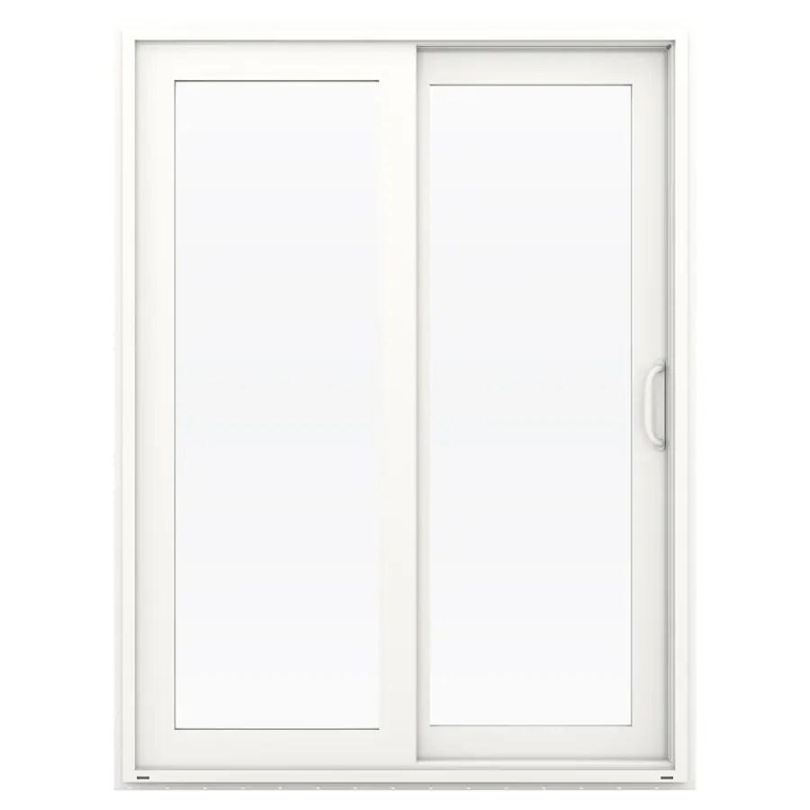 jeld wen 60 in x 80 in clear glass white vinyl right hand double door sliding patio door with screen