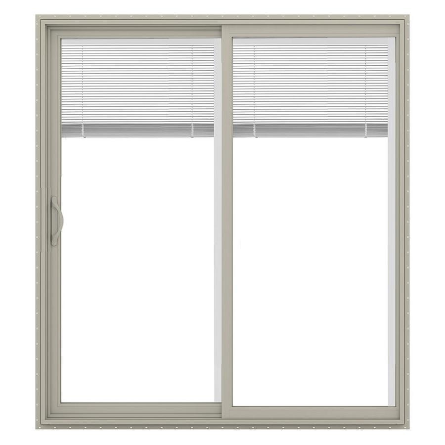 jeld wen 72 in x 80 in blinds between the glass desert sand vinyl left hand sliding double door sliding patio door with screen
