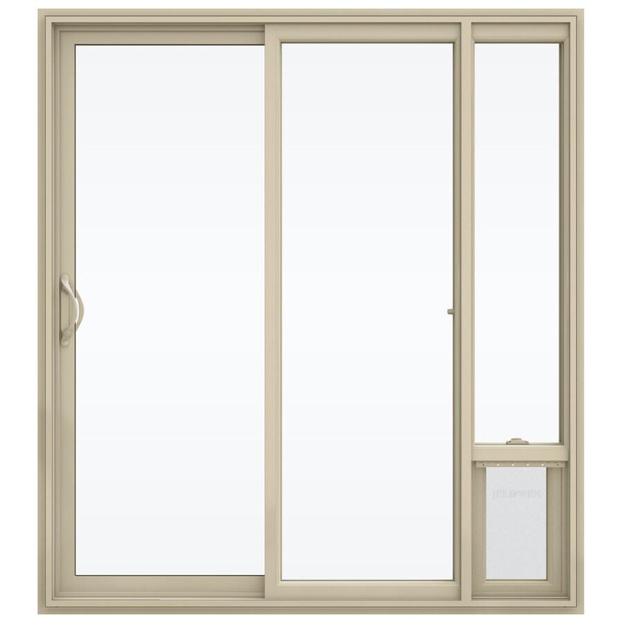 jeld wen 72 in x 80 in clear glass almond vinyl left hand sliding double door sliding patio door with screen and pet door