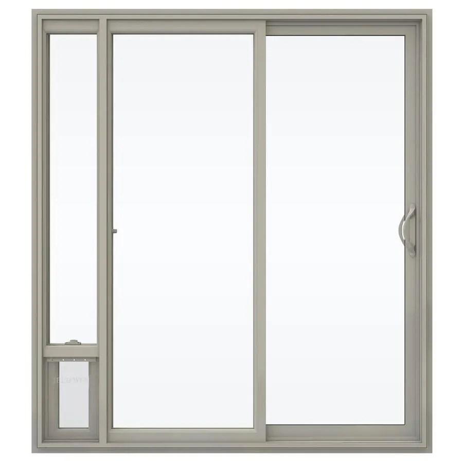 jeld wen 72 in x 80 in clear glass desert sand vinyl right hand double door sliding patio door with screen and pet door