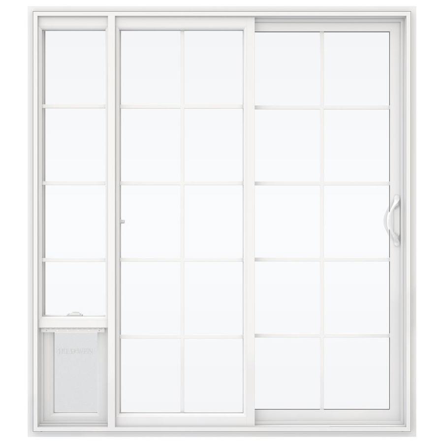 jeld wen 72 in x 80 in grilles between the glass white vinyl right hand double door sliding patio door with screen and pet door