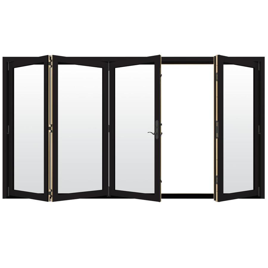 jeld wen 124 in x 96 in clear glass black clad wood left hand outswing folding patio door