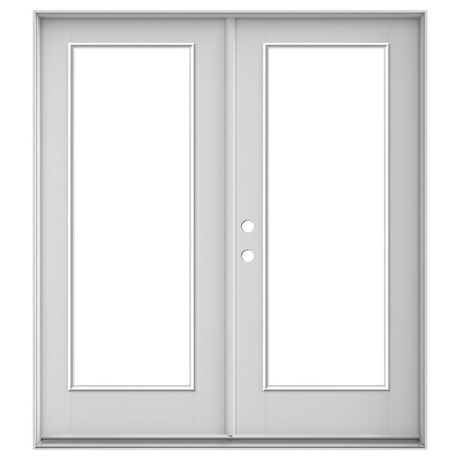 jeld wen 72 in x 80 in clear glass primed fiberglass right hand inswing double door french patio door lowes com