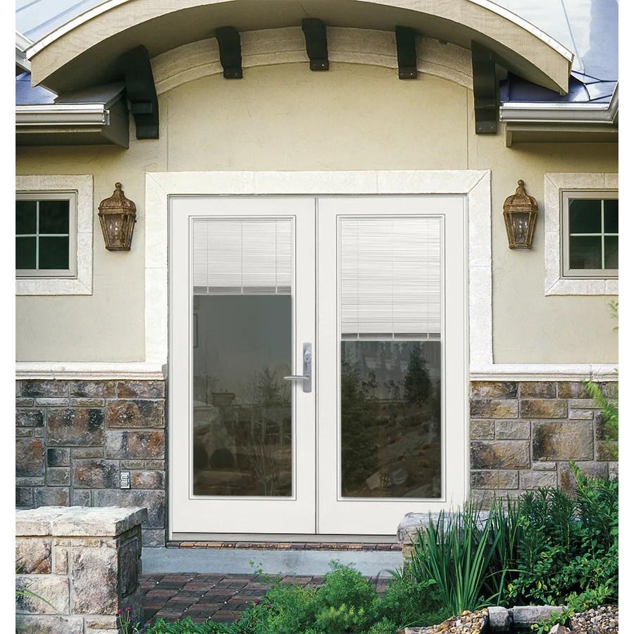 jeld wen 72 in x 80 in blinds between the glass primed steel left hand inswing double door french patio door lowes com