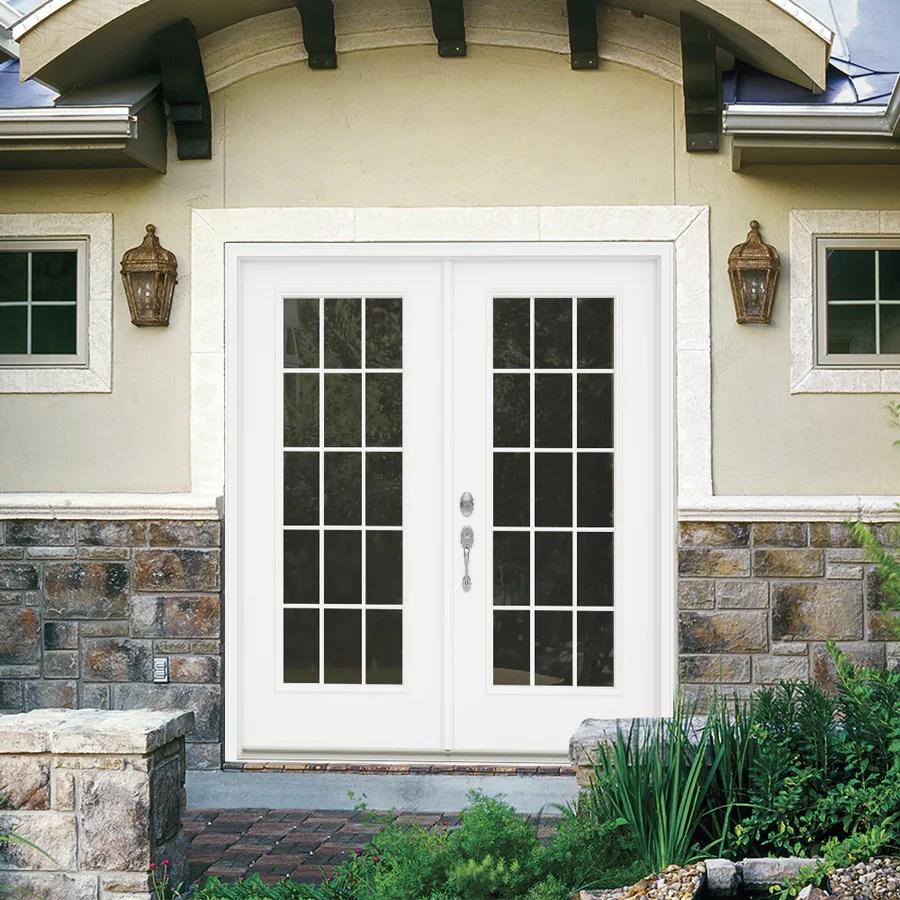 jeld wen 60 in x 80 in external grilles primed steel right hand inswing double door french patio door in the patio doors department at lowes com