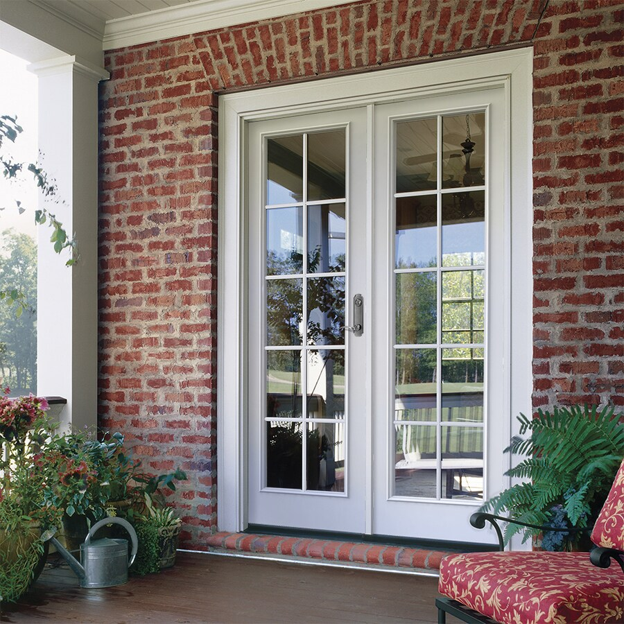 jeld wen 72 in x 80 in external grilles primed steel left hand inswing double door french patio door lowes com