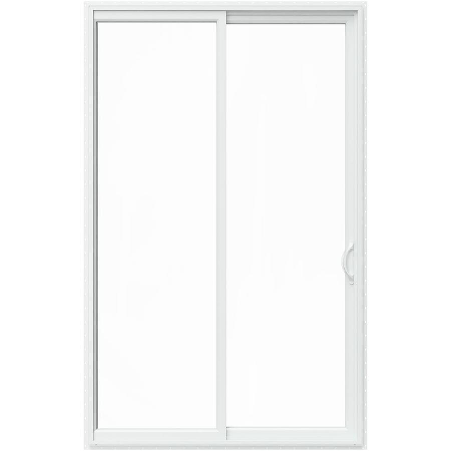 jeld wen v 2500 96 in x 80 in clear glass white vinyl right hand sliding patio door