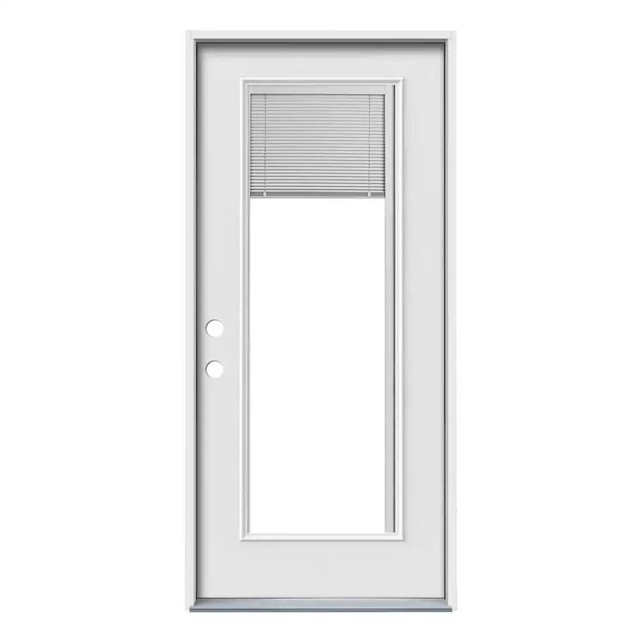 jeld wen 36 in x 80 in steel full lite right hand inswing primed prehung single front door with blinds