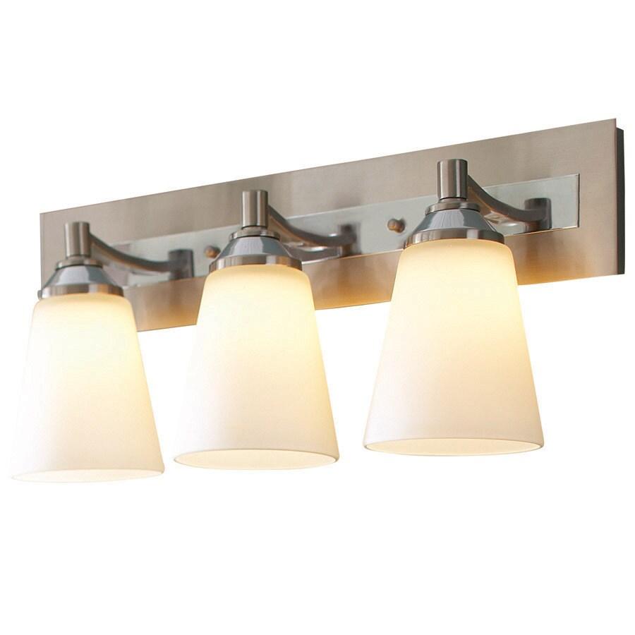 allen roth 3 light brushed nickel and polished chrome led bathroom vanity light