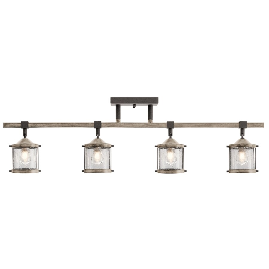 kichler barrington 4 light 32 in anvil iron and distressed antique grey dimmable standard track bar fixed track light kit