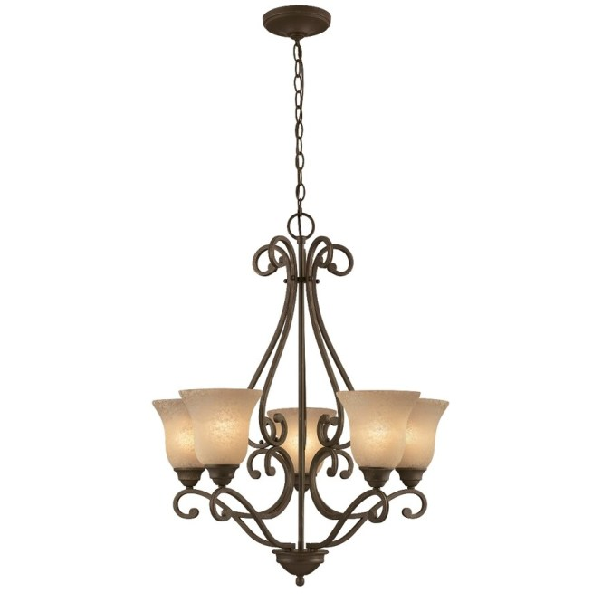 Portfolio Linkhorn 27 In 5 Light Iron Stone Wrought Tinted Glass Shaded Chandelier
