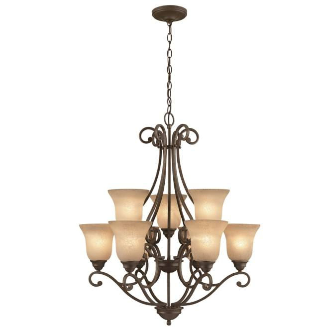 Portfolio Linkhorn 20 In Iron Stone Wrought Hardwired Tinted Glass Shaded Chandelier