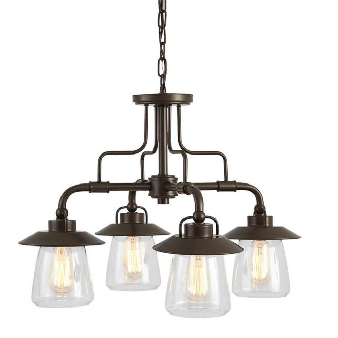 Allen Roth Bristow 24 02 In 4 Light Specialty Bronze Rustic Clear Glass Shaded