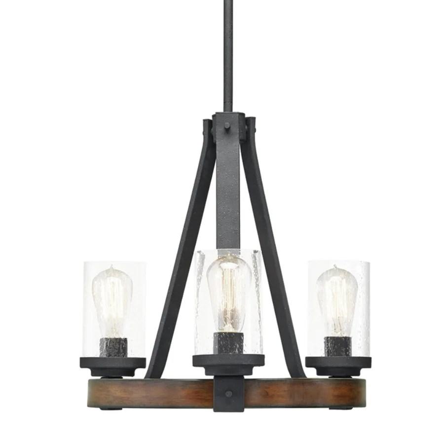 kichler barrington 3 light distressed black and wood tone rustic chandelier