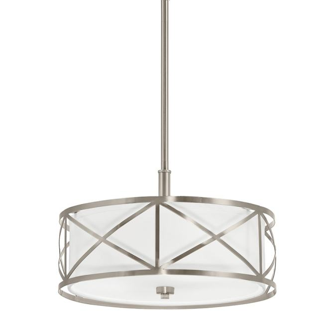 Kichler Edenbrook 17 01 In Brushed Nickel Country Cottage Single Etched Glass Drum Pendant