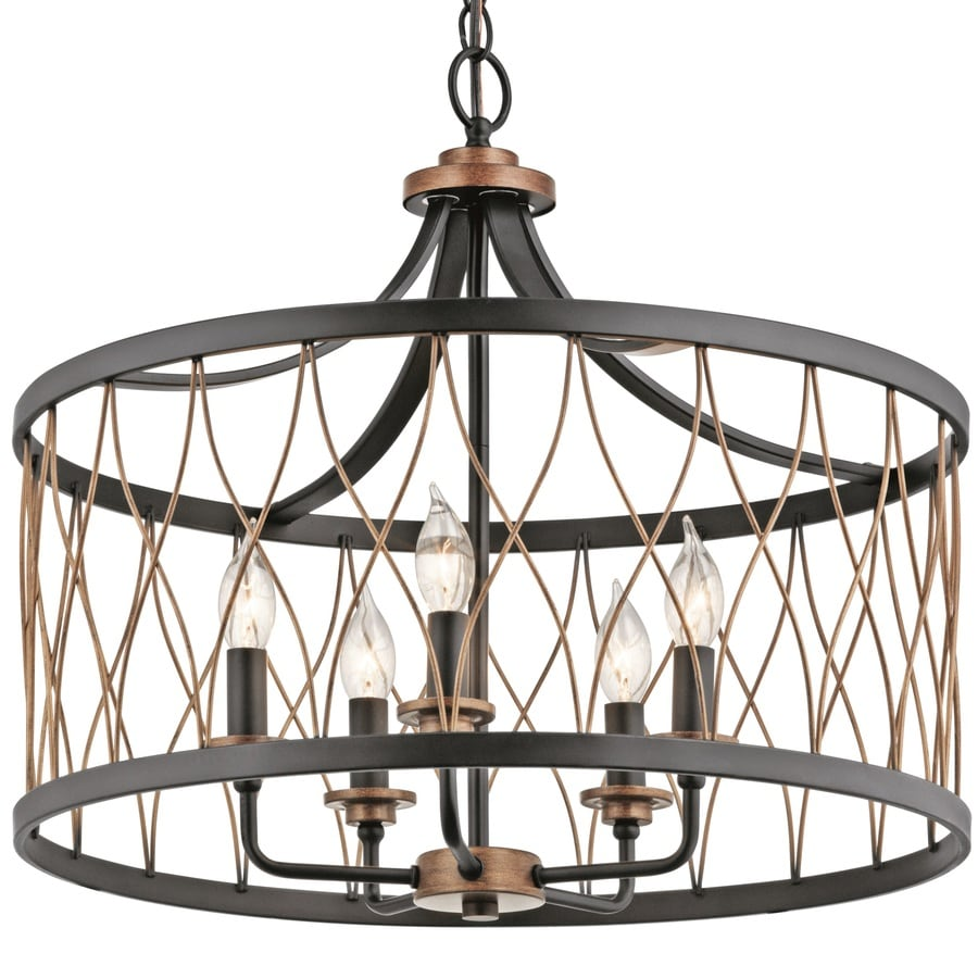 kichler brookglen black with gold tone french country cottage drum pendant light