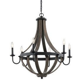 Kichler Merlot 30 In Distressed Black And Wood Barn Candle Chandelier