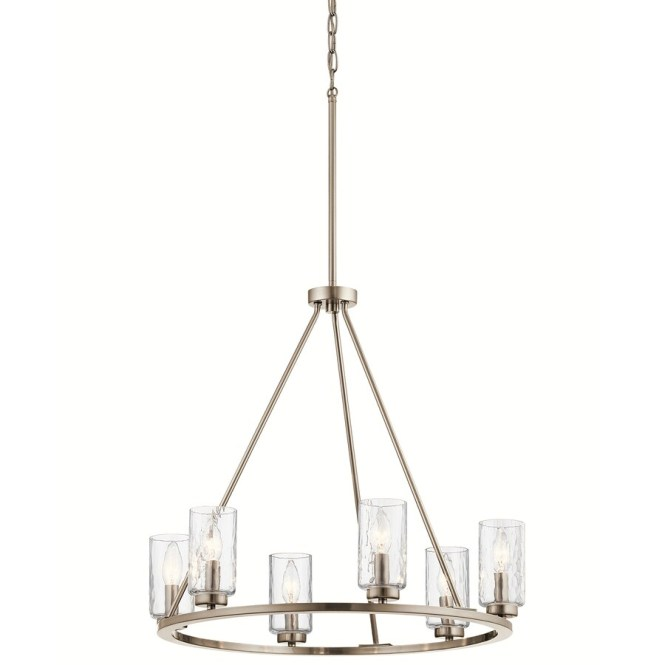 Kichler Marita 23 75 In 6 Light Brushed Nickel Vintage Clear Glass Shaded Chandelier