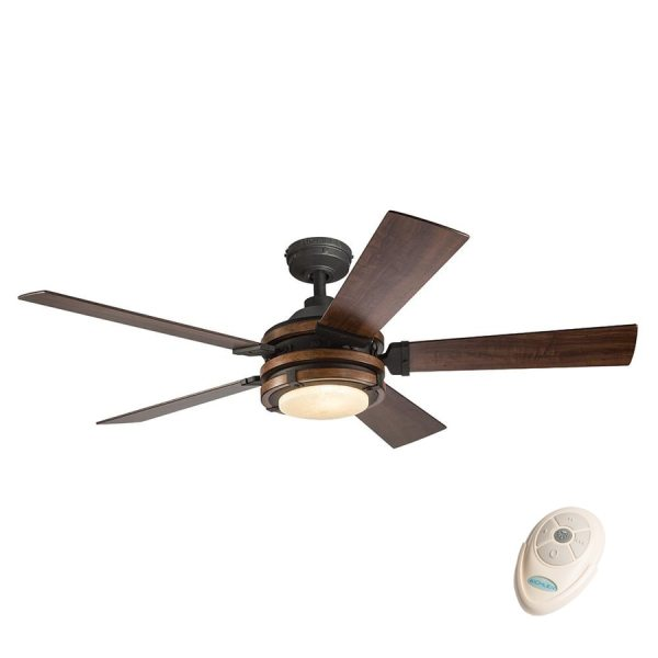 Shop Kichler Barrington 52 in Distressed Black And Wood Indoor     Kichler Barrington 52 in Distressed Black And Wood Indoor Downrod Mount Ceiling  Fan with Light