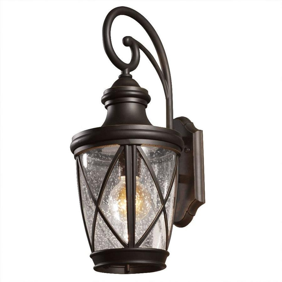 allen roth castine 20 38 in h rubbed bronze medium base e 26 outdoor wall light lowes com