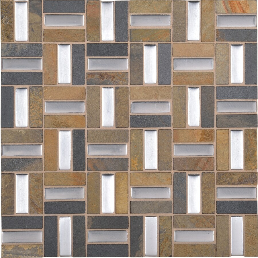 american olean park trail silver moon basketweave mosaic stone and glass marble wall tile common 12 in x 12 in actual 11 62 in x 11 75 in