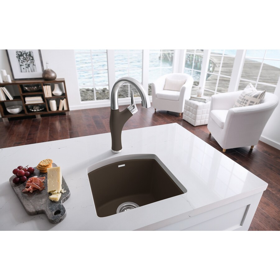 blanco diamond 15 in l x 15 in w cafe brown 1 hole granite residential bar sink