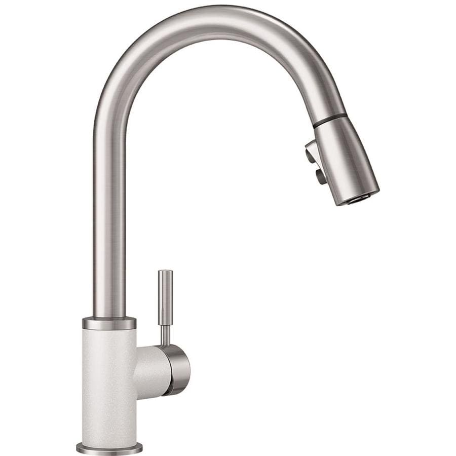 blanco sonoma white stainless white 1 handle deck mount pull down handle kitchen faucet