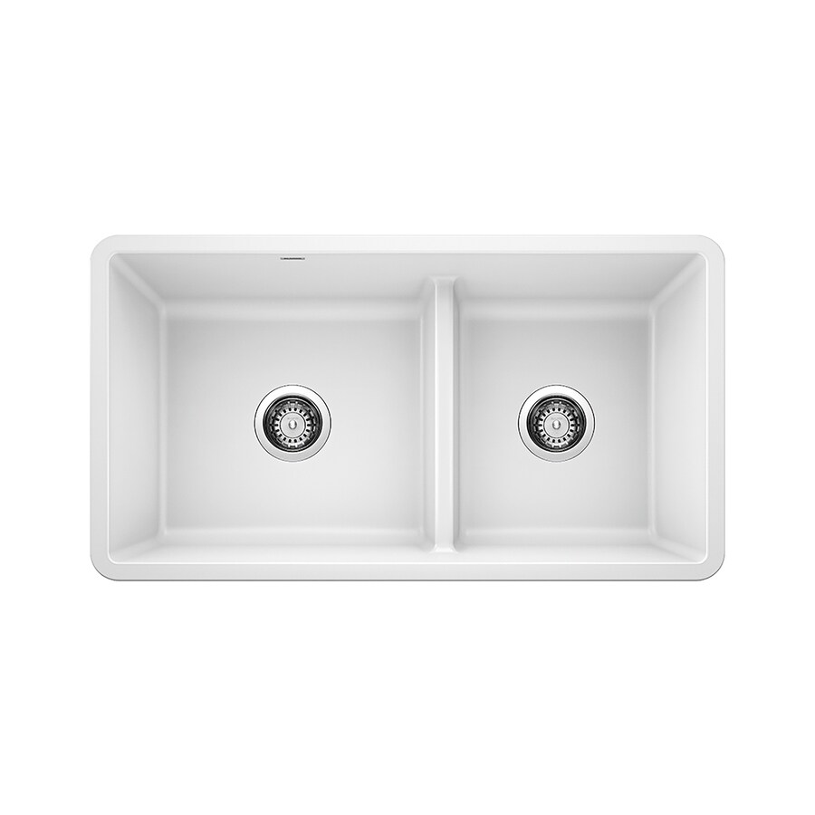 https www lowes com pd blanco precis 33 in x 18 in white double offset bowl undermount residential kitchen sink 1000489957