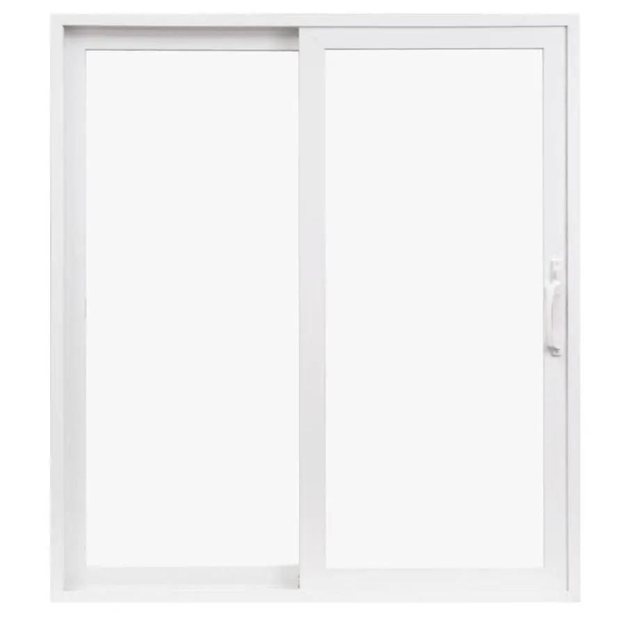 pella 350 series 72 in x 80 in clear glass vinyl left hand sliding double door sliding patio door