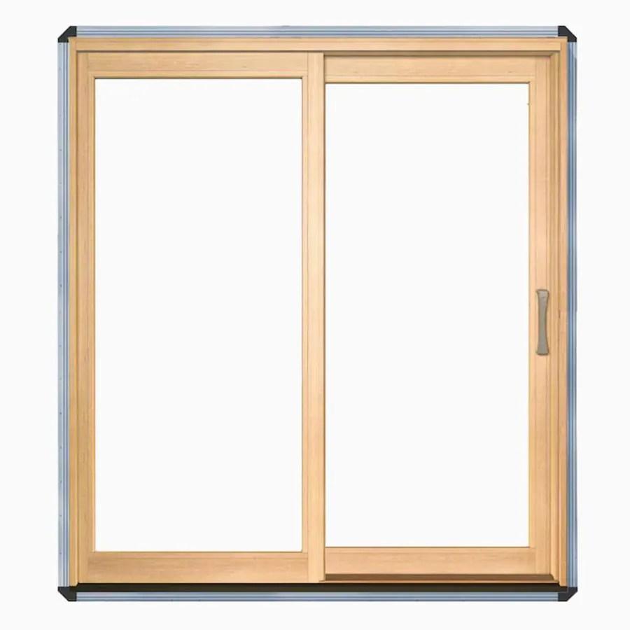pella lifestyle 72 in x 80 in clear glass wood left hand sliding double door sliding patio door lowes com