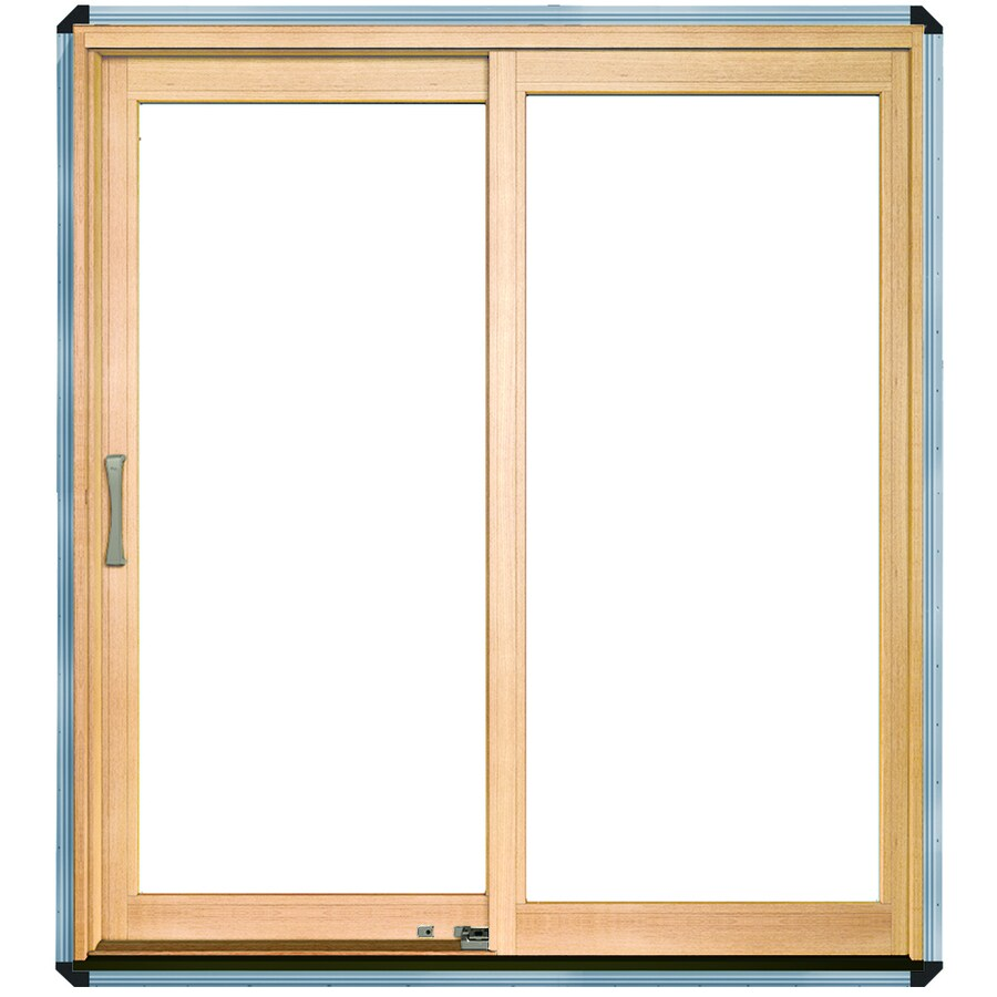 pella lifestyle 72 in x 80 in clear glass wood right hand double door sliding patio door lowes com