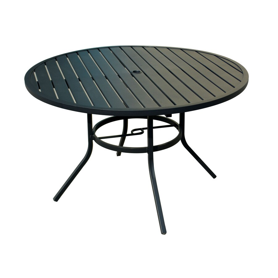 style selections pelham bay round outdoor dining table 48 in w x 48 in l with umbrella hole lowes com