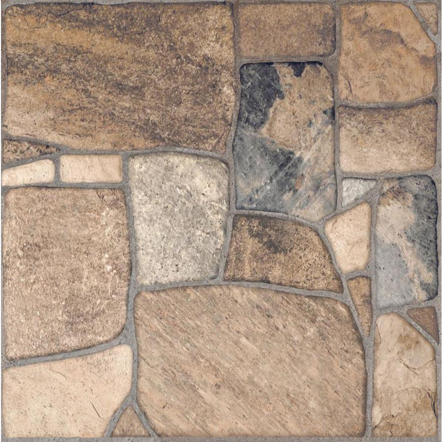 style selections savestro brown 17 in x 17 in matte ceramic slate stone look floor and wall tile