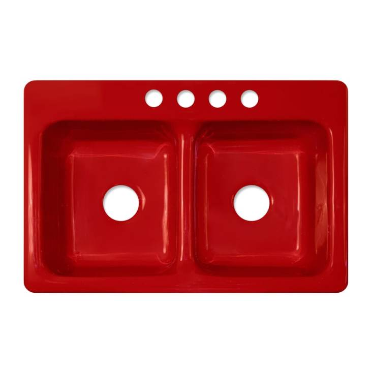 Corstone Greenwich Gloss Red Double Basin Acrylic Drop Kitchen Sink