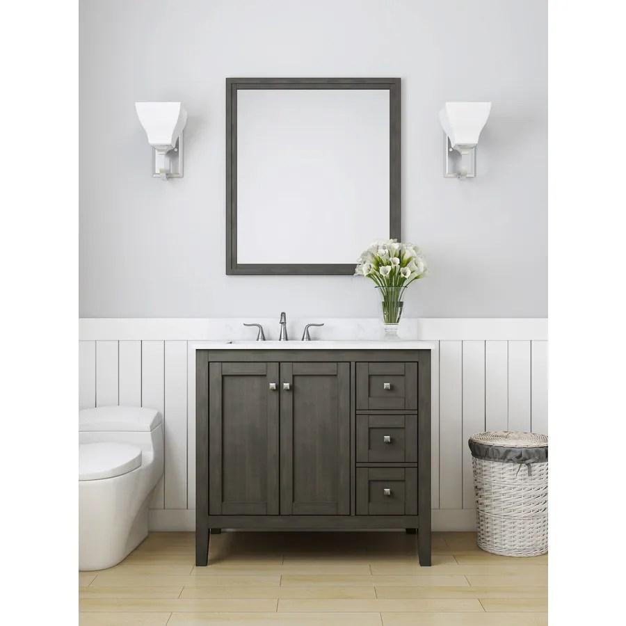 allen roth everdene 36 in grey single sink bathroom vanity with carrera white engineered stone top