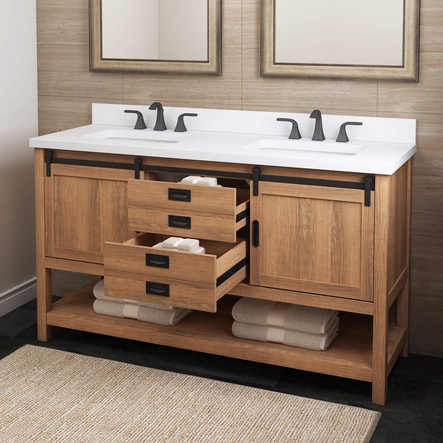 style selections 60 in brown undermount double sink bathroom vanity with white engineered stone top
