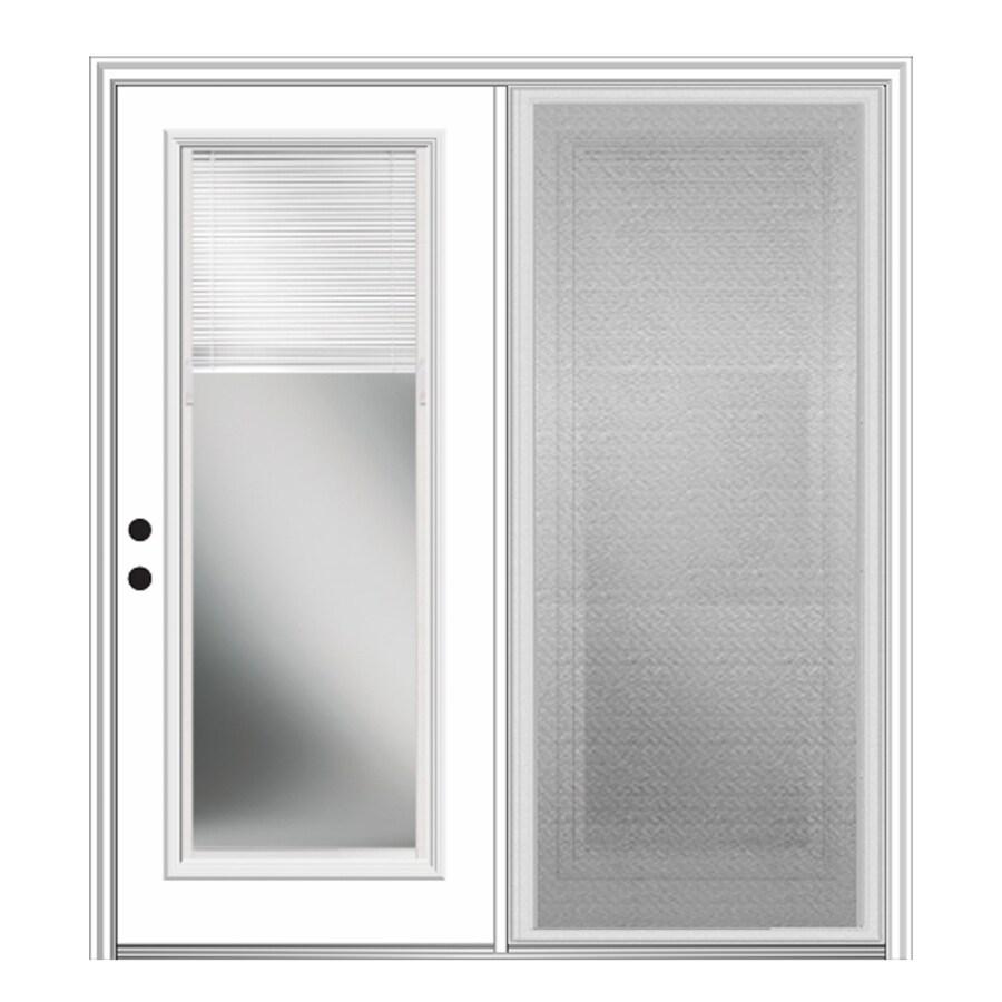 mmi door internal mini blinds 64 in x 80 in blinds between the glass fiberglass right hand inswing double door center hinged patio door with screen
