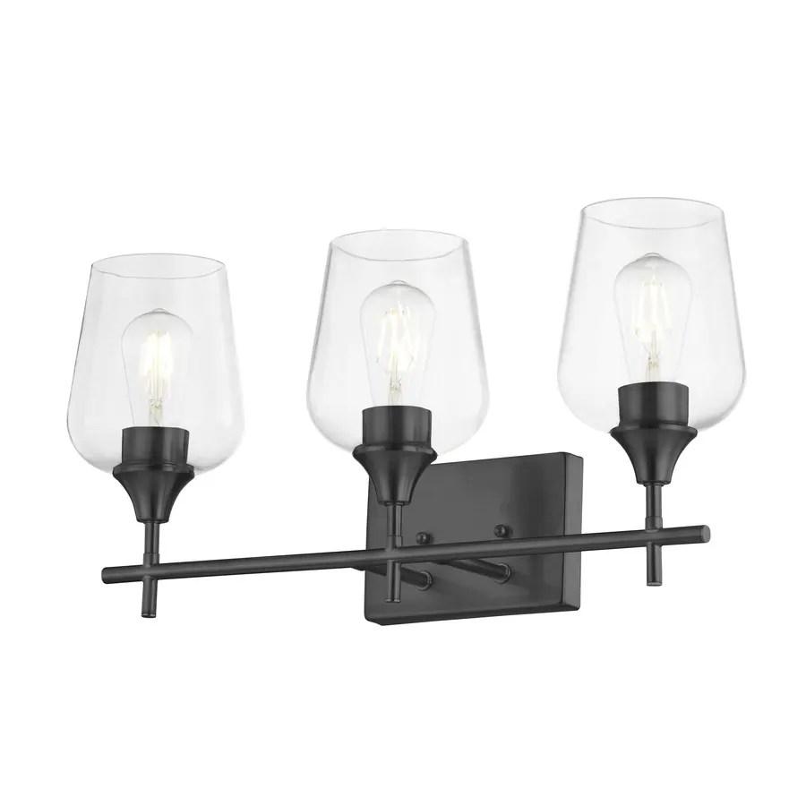 allen roth meredith 3 light black transitional vanity light bar