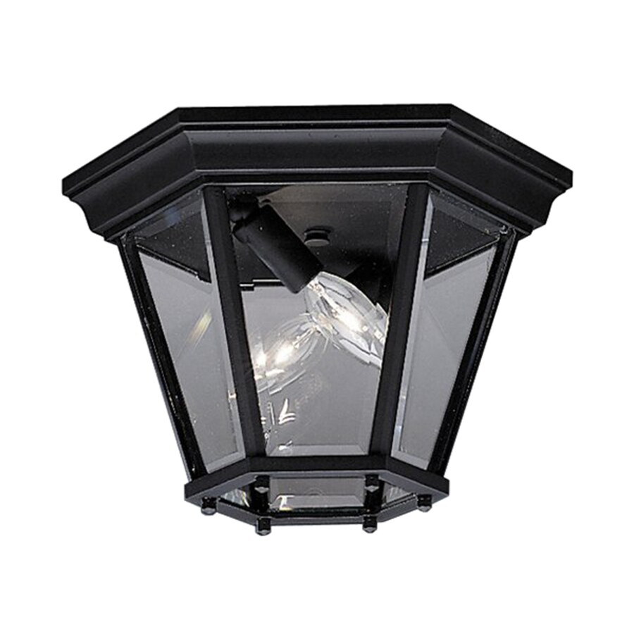 kichler madison 10 75 in w black outdoor flush mount light