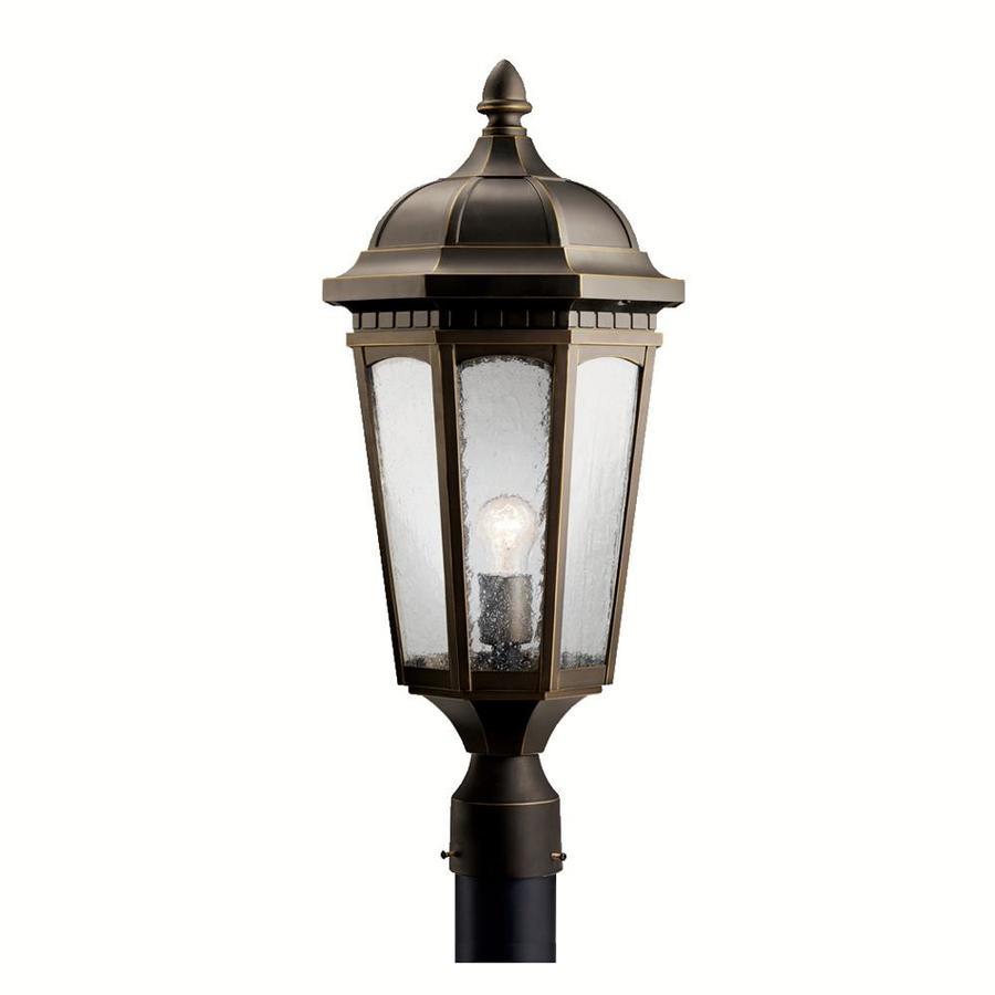 kichler courtyard 200 watt 24 in rubbed bronze traditional post light