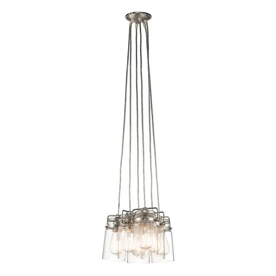kichler brinley brushed nickel transitional clear glass jar pendant light