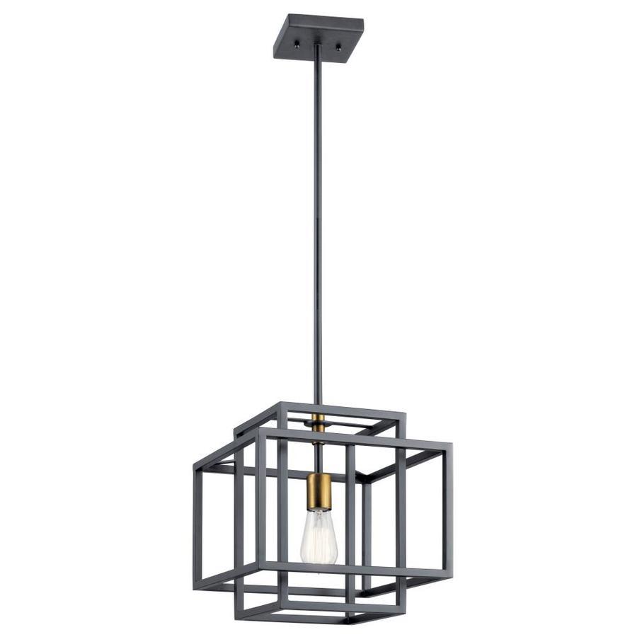 kichler taubert black mid century geometric pendant light