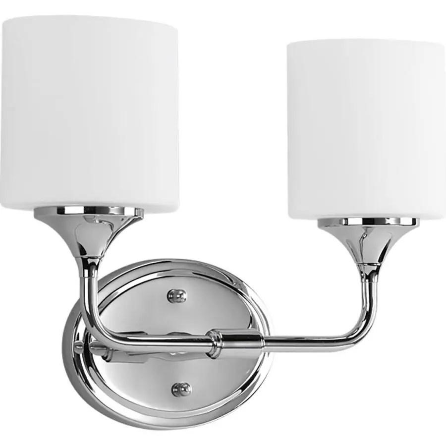 progress lighting lynzie 2 light chrome modern contemporary vanity light