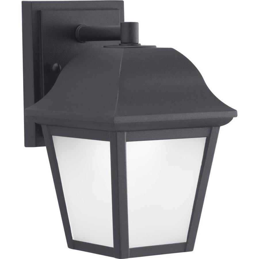 progress lighting die cast led lantern 8 875 in h black led outdoor wall light