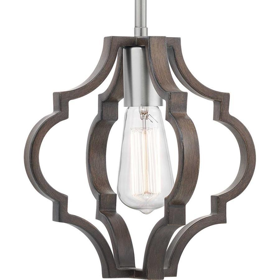 progress lighting teigen teak wood and satin nickel farmhouse geometric pendant light