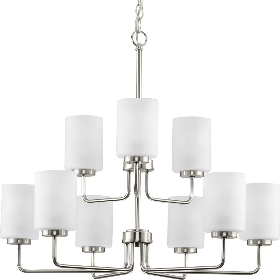 progress lighting merry collection 9 light brushed nickel etched glass transitional chandelier light
