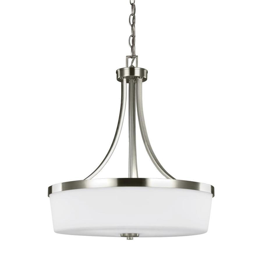 sea gull lighting hettinger brushed nickel transitional etched glass bowl pendant light
