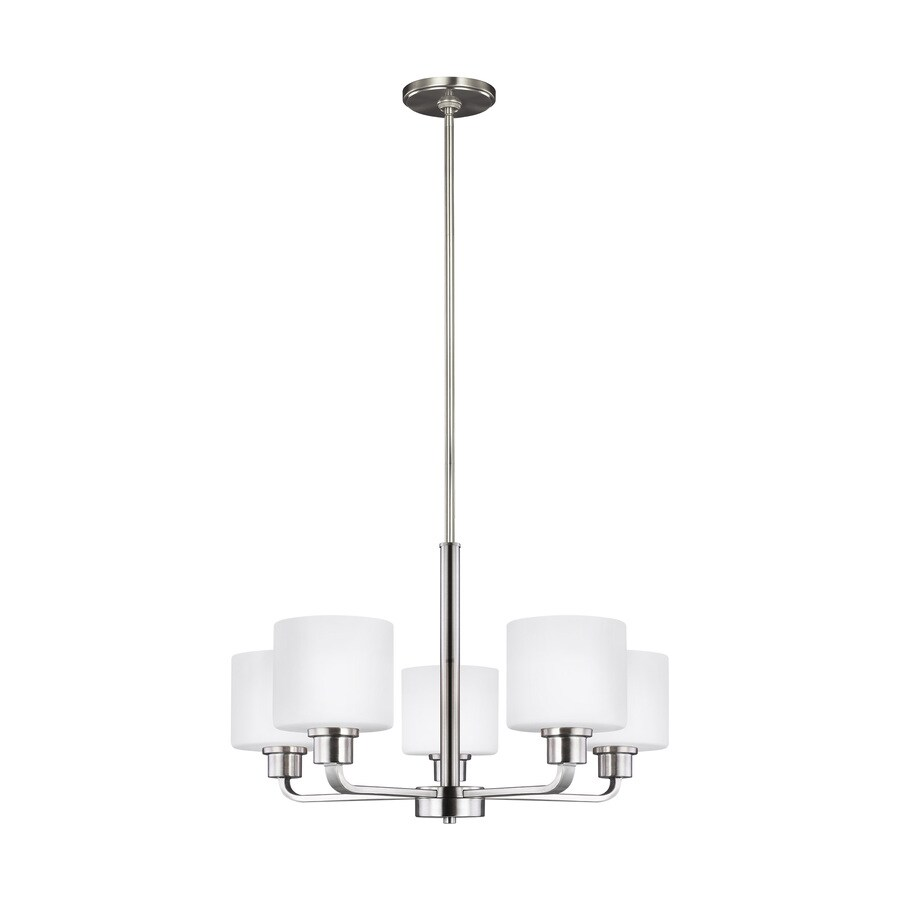 sea gull lighting canfield 5 light brushed nickel transitional chandelier