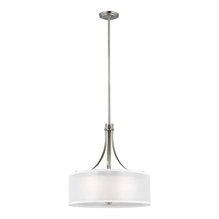 sea gull lighting elmwood park 3 light brushed nickel pendant with satin etched glass shade