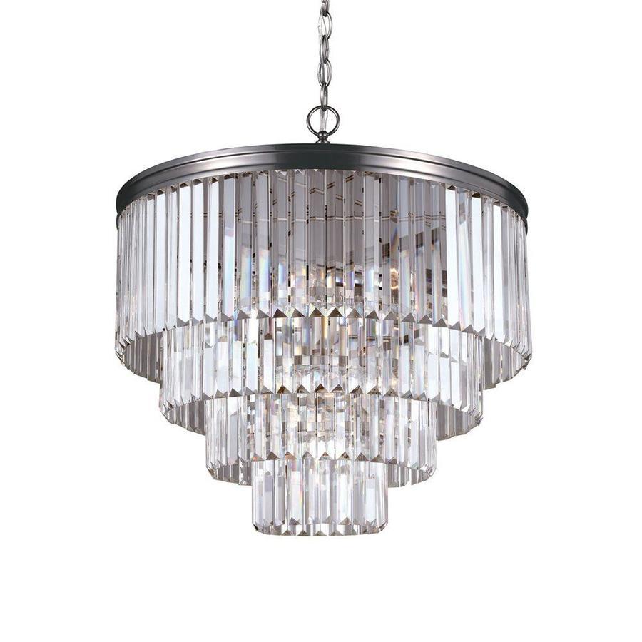 sea gull lighting carondelet 6 light antique brushed nickel vintage crystal chandelier